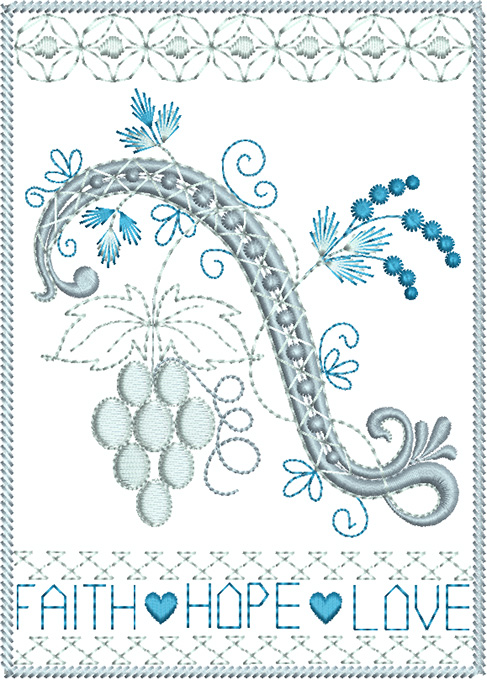Framed scroll with grapes